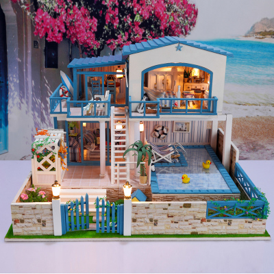 You manually assembled model house large villa house birthday gift