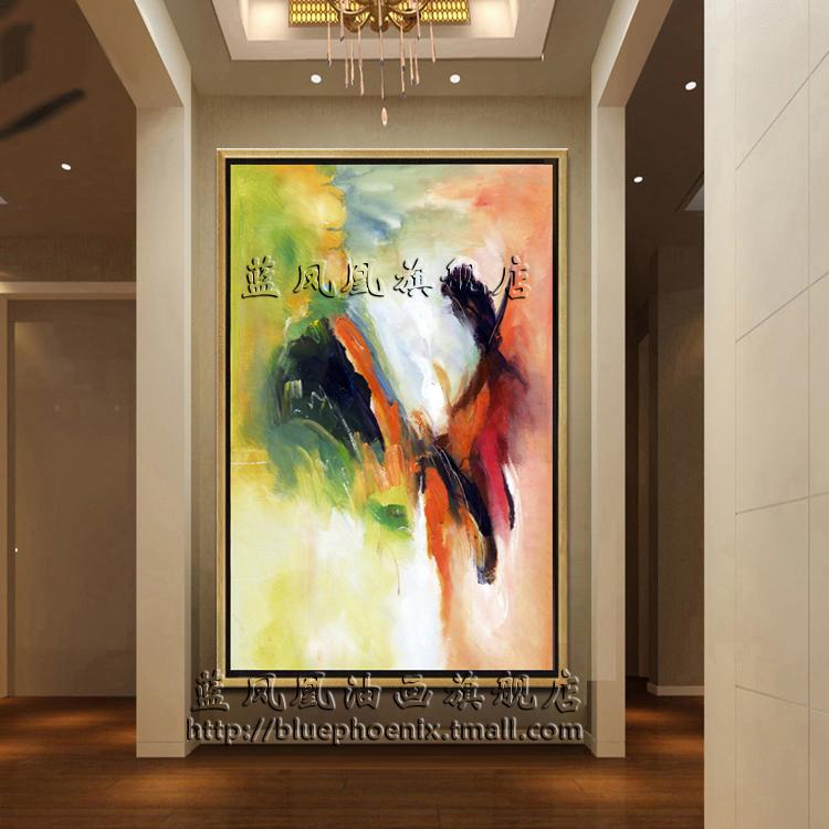 赵无极抽象油画 现代简约家居客厅玄关酒店装饰有框画 手绘挂画