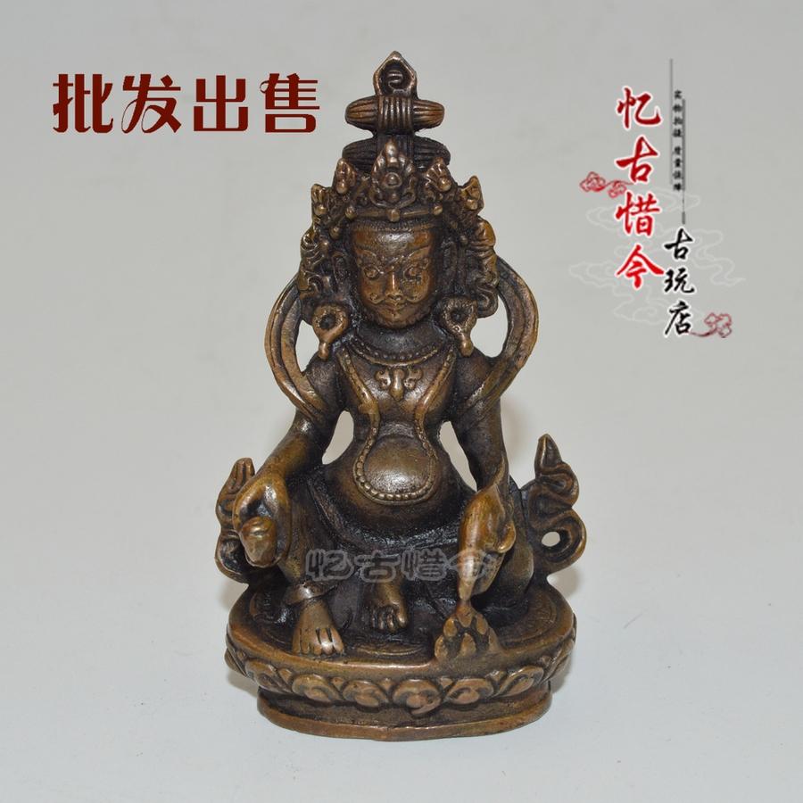 Изображения Будды, Статуи божества Античная медь Античная возраст патина желтый Бог богатства Будды рождественские мини орнамента медальон город дома