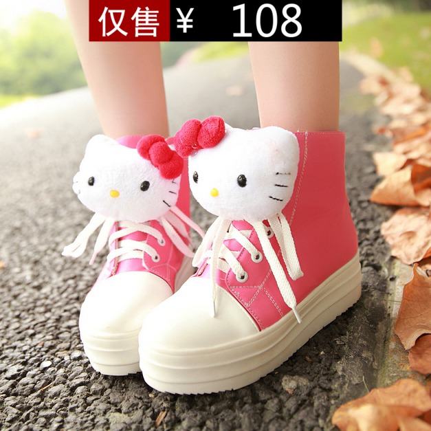 2013 new winter boots ladies boots round flat front shoe lace decoration casual shoes Hello Kitty