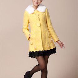 korean style sweet and lovely thick fur collar woolen jacket Slim