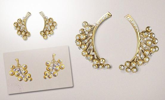 Бриллиант «Высокого класса люкс» ва ювелирных украшений 18K алмаз серьги Mimosa депозит