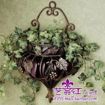 艺品红 欧式古典 铁艺玻璃花瓶 紫色 壁挂花瓶 壁饰花瓶 挂墙花瓶