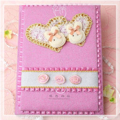 欧式韩式个性结婚婚礼签到本签到册礼金簿带格签名册粉色 加大版