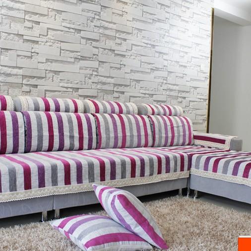 晓笑家居夏季欧式巴比伦条纹布艺提花沙发垫组合沙发巾沙发套定做