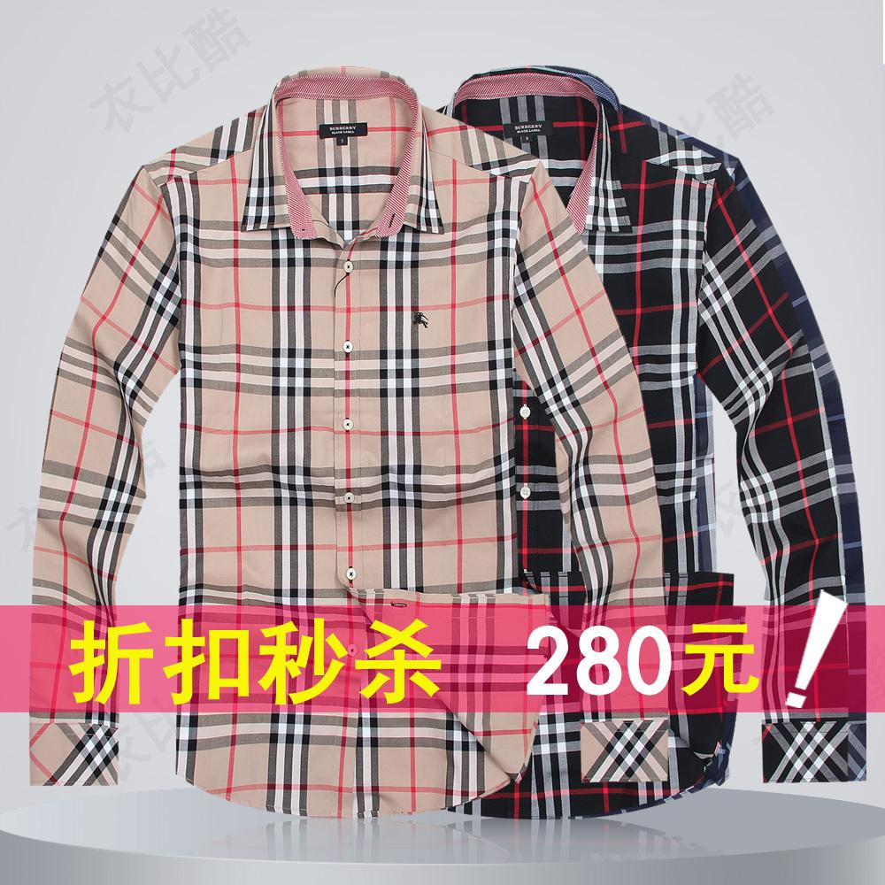 秋装新款 burberry/巴宝利 男式衬衫 长袖格子衬衫 巴宝莉衬衣