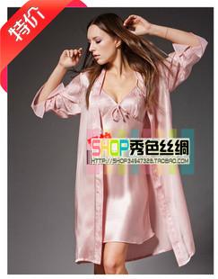 Халат Летом Специальные сексуальные шелковые сплошной цвет подтяжки двухсекционный платья женщин шелк ночная рубашка одеяние XL пижамы Девушки Шелк Имитация натурального шёлка Однотонный цвет Сексуальный и очаровательный стиль