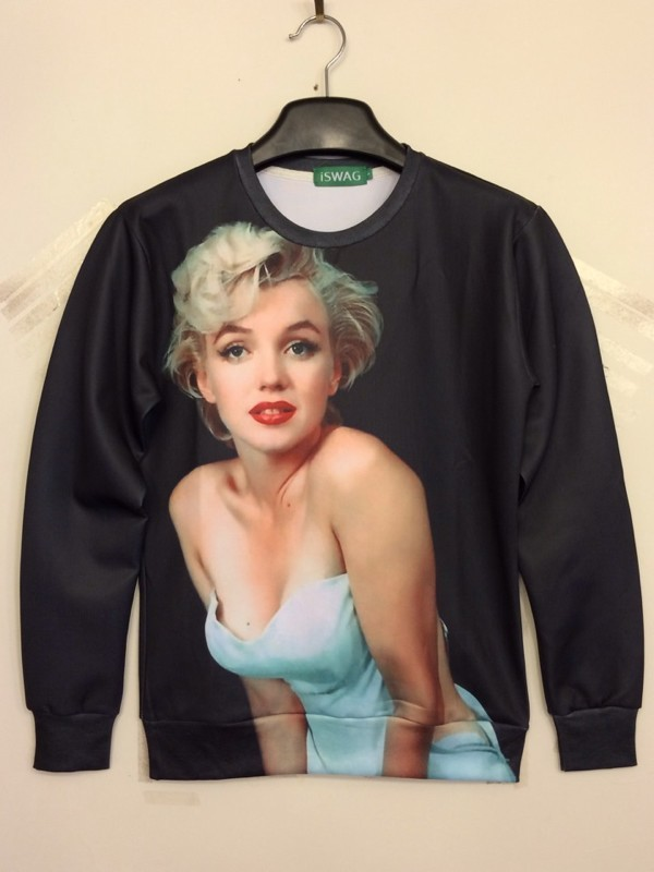Europe and the United Harajuku 3D sexy-sweaters sexy thin models sweater ISWAG Monroe