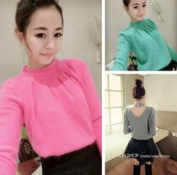Temperament sexy back V-neck hollow fur pullover sweater