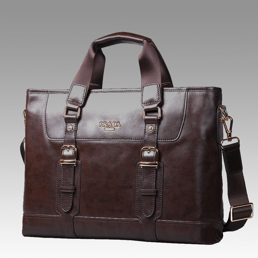 新款正品prada普拉达男包 男士手提包 真皮商务公文包