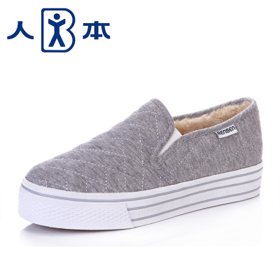 The lazy man shoes plus velvet winter 2014 women a new velvet pedal lazy shoes a pedal heavy-bottomed canvas shoes