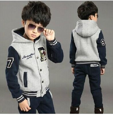 3 Boys Kids 2014 fall and winter clothes new Korean version of the influx of big boy child 6 thick sweater suit nine baseball uniform
