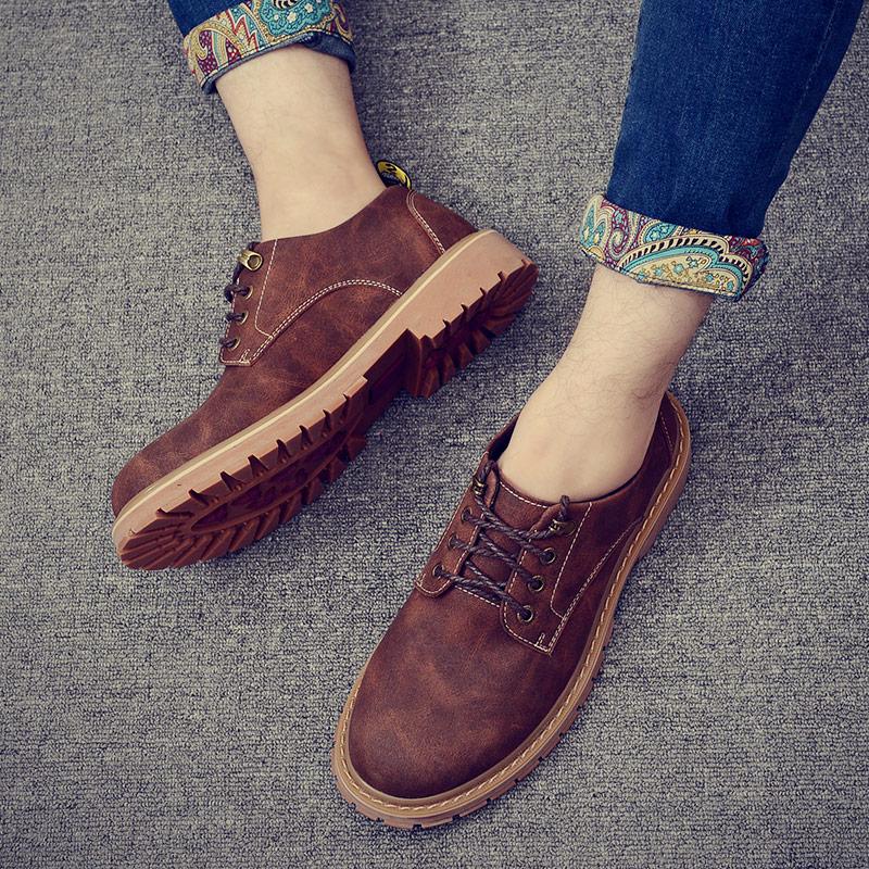 秋冬季男鞋子棉鞋保暖加绒休闲男士工装鞋大头皮鞋英伦风复古潮鞋