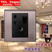 秒杀TCL罗格朗插座面板 K5系列 玫瑰金边框+黑芯带开关二三插五孔