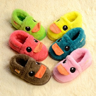 A family of three parent-child shoes men and women shoes big yellow duck baby shoes children's bag with warm home cotton slippers