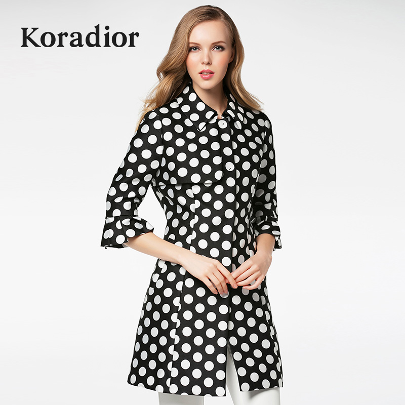 珂莱蒂尔Koradior正品春款女装欧美波点七分袖修身显瘦风衣外套