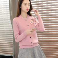 2016秋装女新款韩版加厚三朵花针织衫女开衫短款宽松毛衣外套女装
