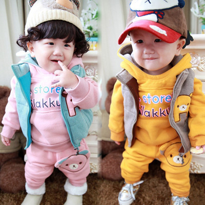 Kids Fashion Plaid suit 2014 new children's suits 0-1-2-3-4 old baby thick three-piece suit