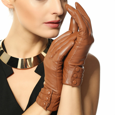WARMEN British style sheepskin leather gloves ladies fashion leather gloves warm winter short paragraph L003NC