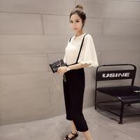 2016夏装新款韩版蝙蝠袖雪纺衫七分背带裤套装女显瘦时尚两件套装