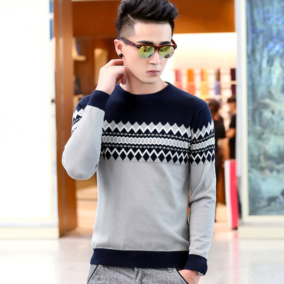 John on behalf of Victoria fall and winter clothes men's sweater round neck pullover male Korean Slim influx of men sweater sweater