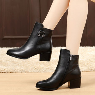 秋冬季女鞋粗跟短靴女春秋单靴踝靴真皮中跟牛皮靴女棉鞋大码女靴