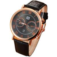 luxury Men's Watches Leather Band Quartz Analog Sport Wrist
