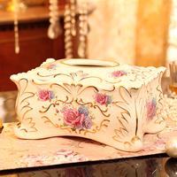 欧式创意陶瓷纸巾盒 高档奢华抽纸盒 结婚礼物家居装饰品陶瓷摆件