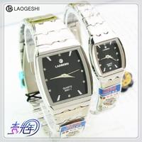 劳格仕商务时尚手表钢事带方形情侣对表防水超薄石英表男女士腕表
