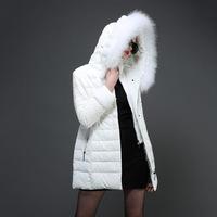 羽绒服女厚2016中长款大毛领连帽韩版白黑色蕾丝拼接羽绒衣外套冬
