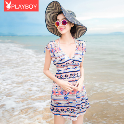 Playboy swimsuit size chest gather Steel Toby Gini three-piece swimsuit beach sexy female national wind