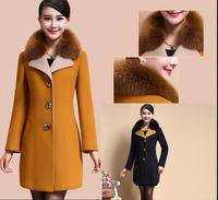 2015秋冬新品羊毛呢子外套中长款女百搭修身显瘦贵妇独家呢料大衣