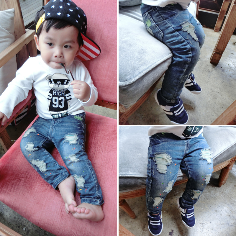2014 Hitz children wear trousers Boys baby boys and girls paint point hole jeans child tide