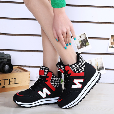 Warm winter shoes 2015 increased within the new high-top lace-up shoes flat shoes sneakers