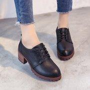 马丁靴女春秋英伦复古小皮鞋学生短靴系带低帮英伦风粗跟马丁鞋靴