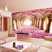 浪漫樱花大型壁画 3d立体墙纸婚房卧室温馨背景墙客厅定制壁纸