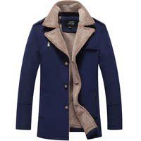 2015冬装新款男装风衣外套 青少年加绒加厚西装领韩版防寒大衣男