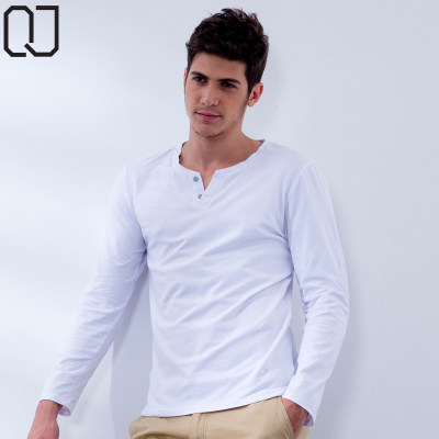 QIJIA 2014 new men's long-sleeved cotton Lycra backing shirt solid color buckle V-neck T-shirt Autumn compassionate man
