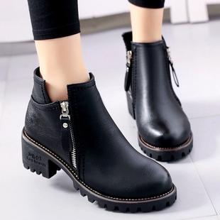 2016秋冬季新款英伦小皮靴加绒保暖马丁靴女靴子中跟粗跟短靴女鞋