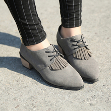 2015 spring loafers female tassel pointed in the single lace-up shoes with European and American academic Oxford shoes with women's shoes