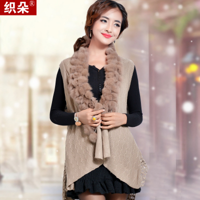 2014 autumn and winter flowers woven vest female rabbit fur shawl knit cardigan vest vest waistcoat jacket fashion