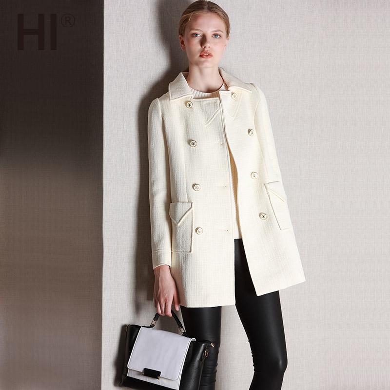 HI冬装新款韩版白色银丝方口小翻领双排扣A字西装外套中长款大衣