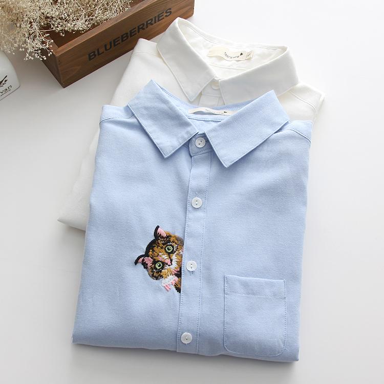 新款特价冲量休闲猫头刺绣衬衫女装打底白衬衫牛津纺 衬衣女长袖