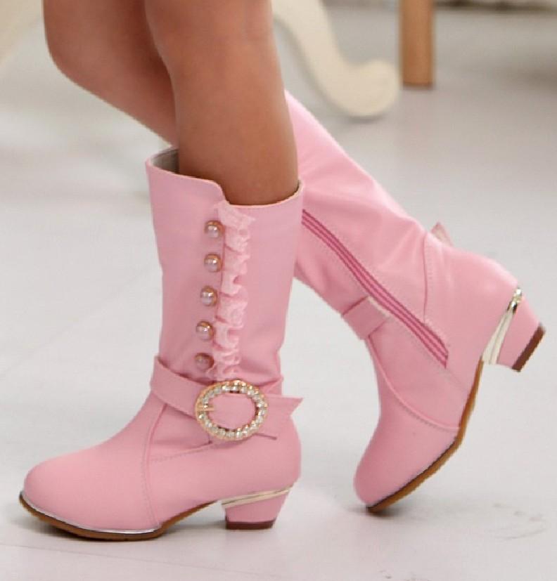 靴子高跟鞋跟图片_2015新款儿童高跟靴子 公主皮靴秋冬童鞋 女童高筒长靴韩版雪地靴