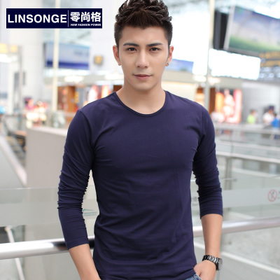 Winter Korean men's long-sleeved T-shirt cotton big yards influx of men bottoming shirt Qiuyi Slim Solid Men Tee T-shirt