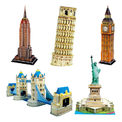 ZILPOO3D dimensional jigsaw puzzle assembled construction paper model of Tower Bridge Statue of Liberty, the Leaning Tower of Pisa