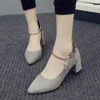 2016新款尖头性感粗跟鞋一字扣带中跟包头浅口女鞋潮包邮