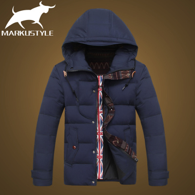 The new winter 2014 men's short section of Korean fashion hooded men thick warm coat jacket Slim tide