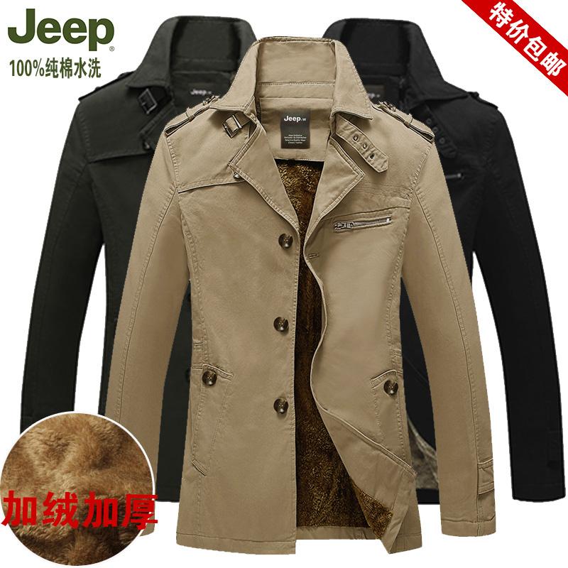 正品jeep棉衣男款加厚冬装外套 吉普棉服中长款加肥加大码男棉袄
