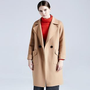 反季大收腰呢子大衣女中长款时尚秋冬款毛呢外套女